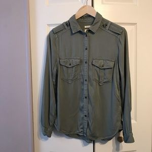 AE Boyfriend Fit Button Up Army Style Top